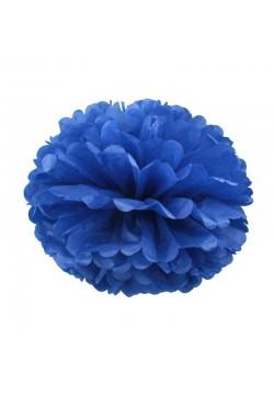 Помпон бумажный 25см синий