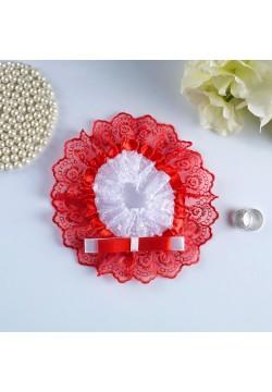 Подвязка Кружевная двухцветная (бело-красная)