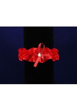 Подвязка Атлас + Кружево (красная)