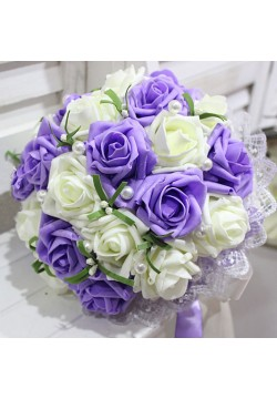 Букет-дублёр Розы латекс 2, (айвори-сиреневый)