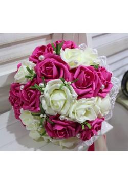 Букет-дублёр Розы латекс 2, (айвори-малиновый)