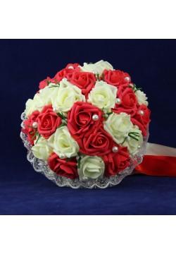 Букет-дублёр Розы латекс 2, (айвори-красный)