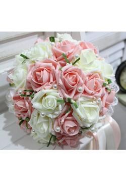 Букет-дублёр Розы латекс 2, (айвори-коралловый)
