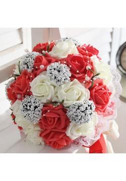 Букет-дублёр Розы латекс 3, (айвори-красный)