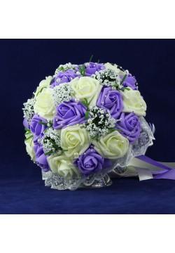 Букет-дублёр Розы латекс 3, (айвори-сиреневый)