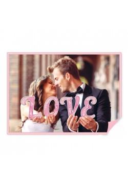 """Буквы для фото """"LOVE"""" (розовый) 16*20см (картон)"""