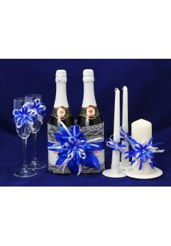 Комплект свадебный №54-3-1 (бело-синий)