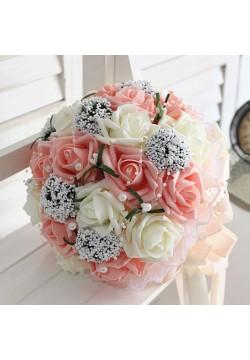 Букет-дублёр Розы латекс 3, (айвори-коралловый)
