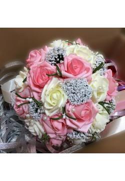 Букет-дублёр Розы латекс 3, (айвори-пепельно-розовый)