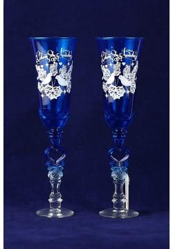 Фужеры для шампанского Свадебные (синие)