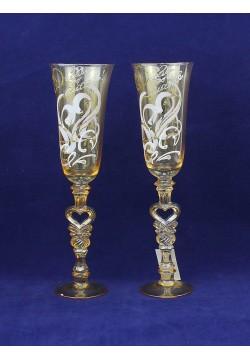 Фужеры для шампанского Свадебные (прозрачное золото)