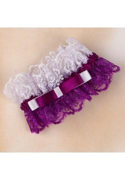 Подвязка Кружевная двухцветная (бело-фиолетовая)