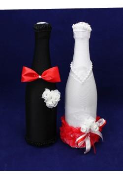 Костюмы на шампанское ЖиН (стрейч) бело-красный