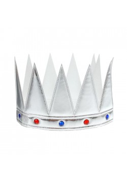Корона царская серебряная со стразами (мягкая) 55*11см