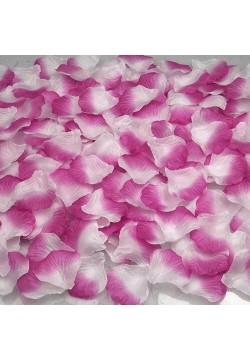 Лепестки роз (150шт) фуксия-белый