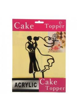 """Топпер на торт """"Жених и Невеста"""" 12*12см, чёрный (пластик)"""
