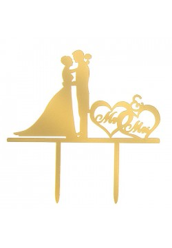 """Топпер на торт """"Жених и Невеста"""" 12*12см, золото (пластик)"""