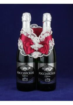 """Украшение на шампанское """"Зимняя вишня"""" крем-бордо"""