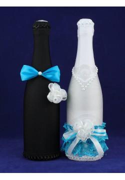 Костюмы на шампанское ЖиН (стрейч) бирюзовый