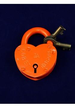 Замок Сердце большой (оранжевый) 10*7,5см