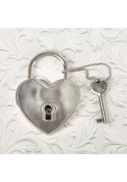 """Замок свадебный с ключом """"Любовь навсегда"""" 4,1*3,5см"""