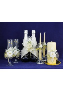 Комплект свадебный №50-5-2 (крем-золото)