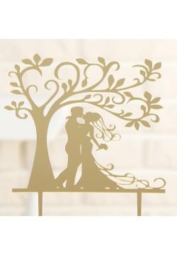 """Топпер для торта """"Свадьба в саду"""" золото (пластик) 13*18см"""