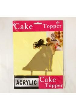 """Топпер для торта """"Рука об руку"""" золото (пластик) 13*18см"""