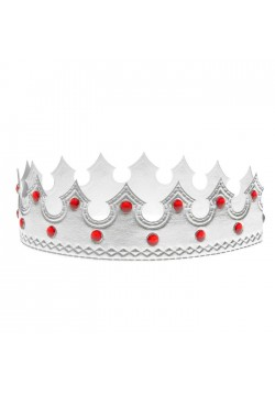 Корона королевская серебряная со стразами 55*5,5см (мягкая)