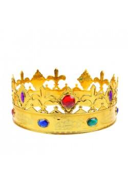 """Корона королевская """"Флёр-де-лис"""" золотая (пластик, стразы)"""