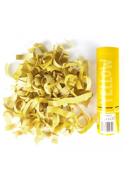 Пневмохлопушка 20см Жёлтое конфетти (бумага)