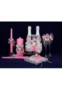 Комплект свадебный №50-6-1 бело-розовый