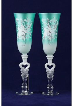 Фужеры для шампанского Свадебные (мятные)