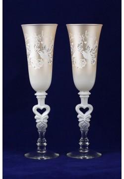 Фужеры для шампанского Свадебные (бежевые матовые)