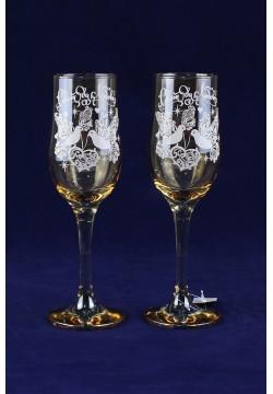 Фужеры для шампанского Tulip Свадебные (прозрачное золото)