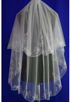 Фата средняя с вышивкой расшитая бисером (белая)