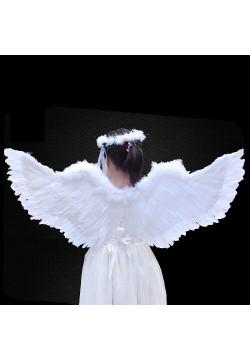 Крылья Ангела белые 115*46см (перо, картон)
