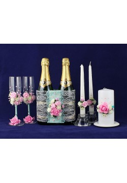 Комплект свадебный №34-1 (мята-розовый)