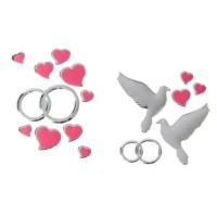 """Набор свадебных наклеек """"Голуби, кольца"""" 4,3*6см"""